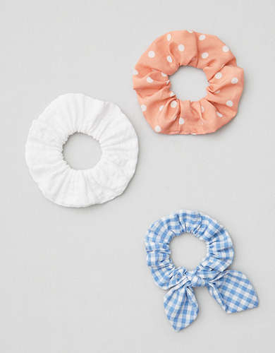 AEO Plaid + Dot Scrunchies 3-Pack -