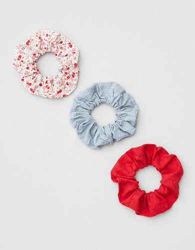 AEO Red Floral Scrunchies 3-Pack -