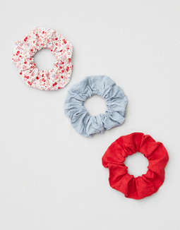 AEO Red Floral Scrunchies 3-Pack