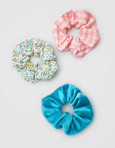 AEO Blue Floral Scrunchies 3-Pack -
