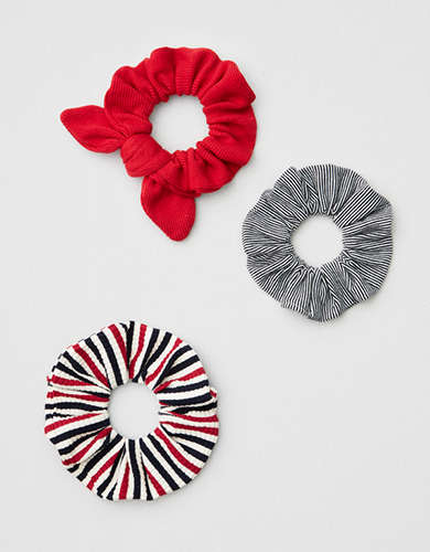 AEO Red + Navy Striped Scrunchies 3-Pack -