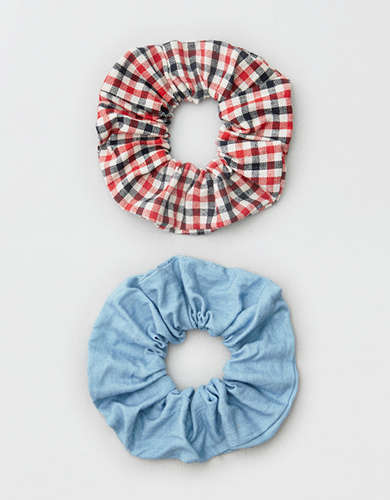 AEO Chambray + Gingham Scrunchies 2-Pack
