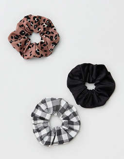 AE Leopard + Gingham Scrunchies 3-Pack
