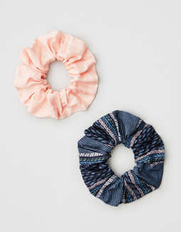 AEO Navy + Pink Scrunchie 2-Pack