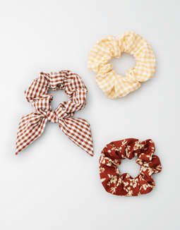 AEO Plaid & Floral Scrunchie 3-Pack