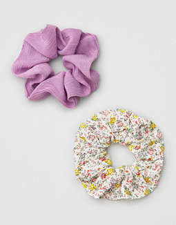 AEO Purple + Floral Scrunchie 2-Pack