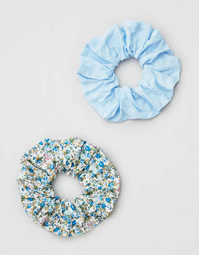 AEO Blue + Floral Scrunchies 2-Pack