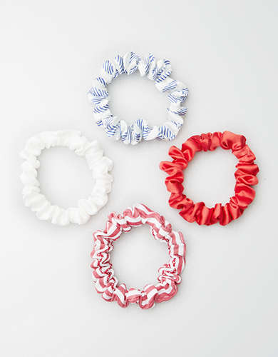 AEO Red, White & Blue Skinny Scrunchies 4-Pack