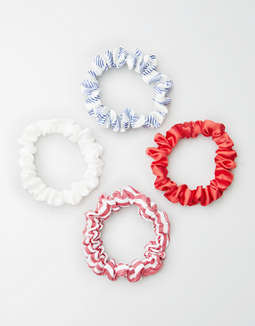 AEO Red, White & Blue Skinny Scrunchie 4-Pack