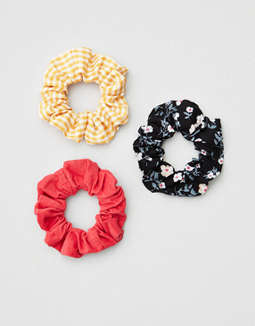 AEO Floral + Gingham Scrunchie 3-Pack