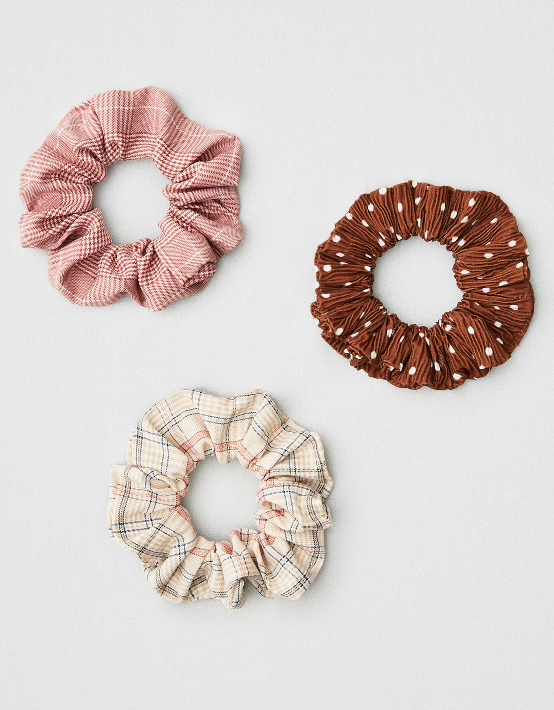 AEO Polka Dot + Plaid Scrunchies 3-Pack