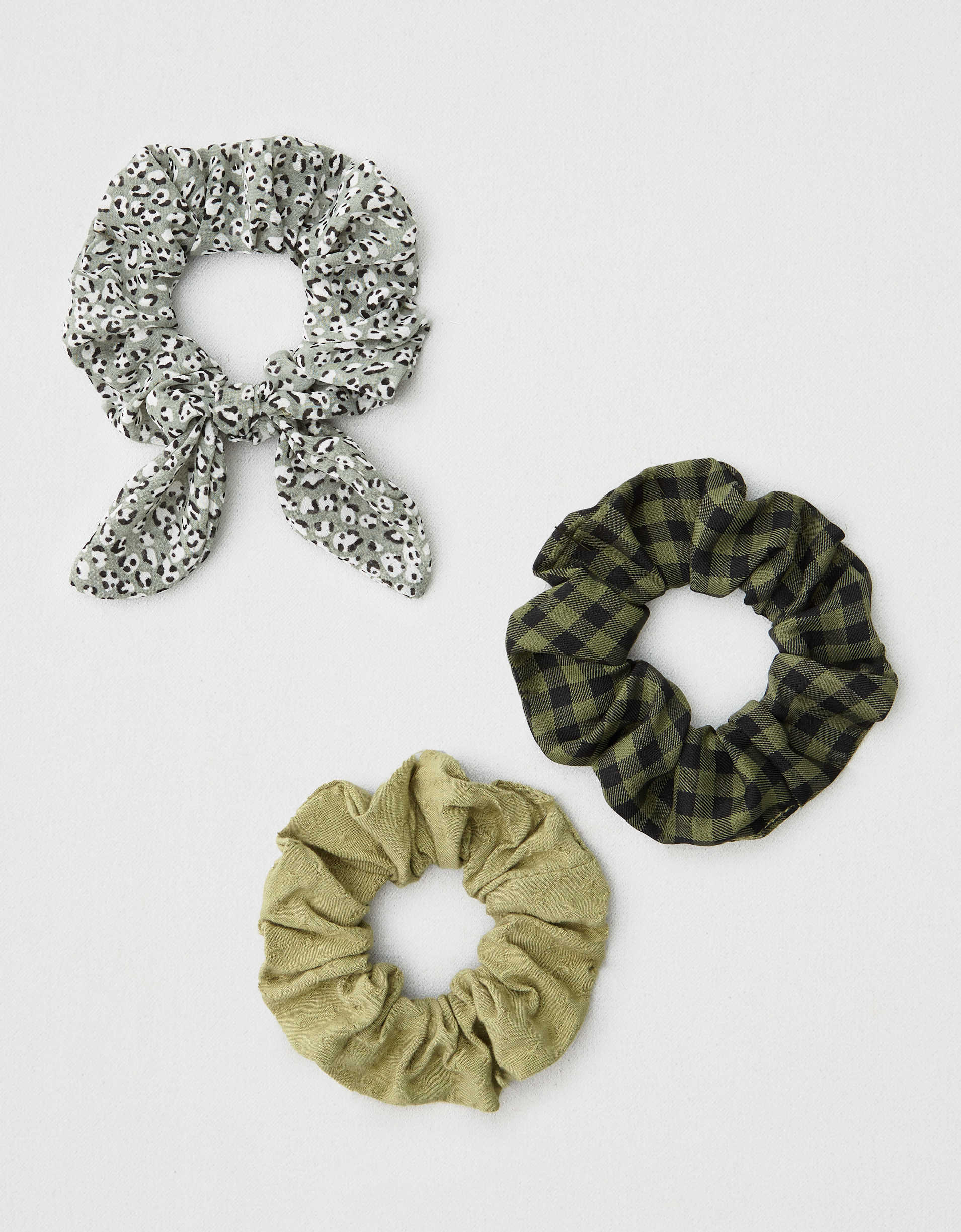 AEO Leopard + Plaid Scrunchies 3-Pack