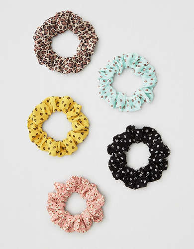 AEO Floral + Leopard Skinny Scrunchies 5-Pack
