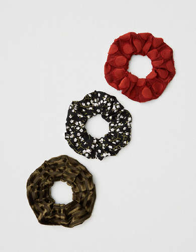 AEO Green + Red Scrunchies 3-Pack