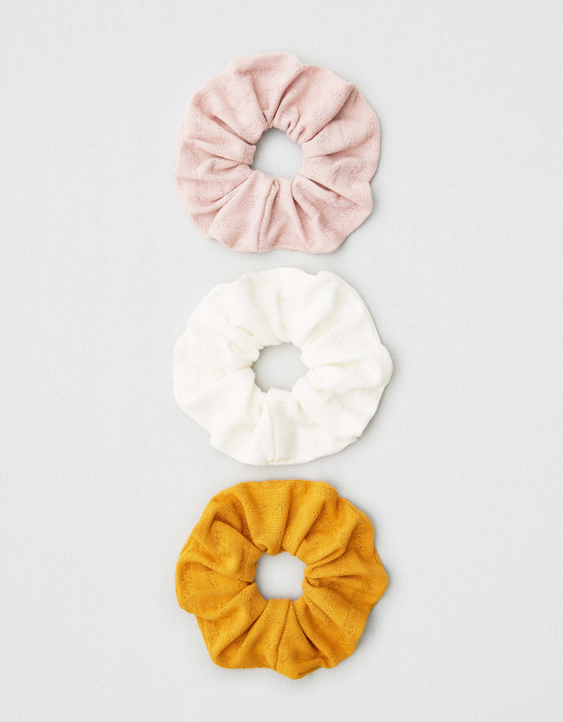 AEO Blush + Mustard Scrunchies 3-Pack
