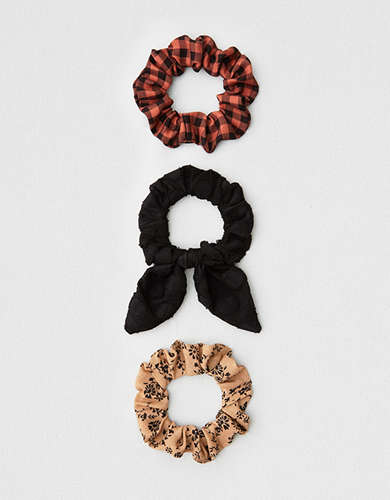 AEO Buffalo Plaid Scrunchies 3-Pack