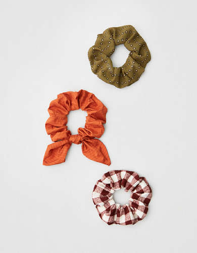 AEO Dotted + Rust Scrunchies 3-Pack