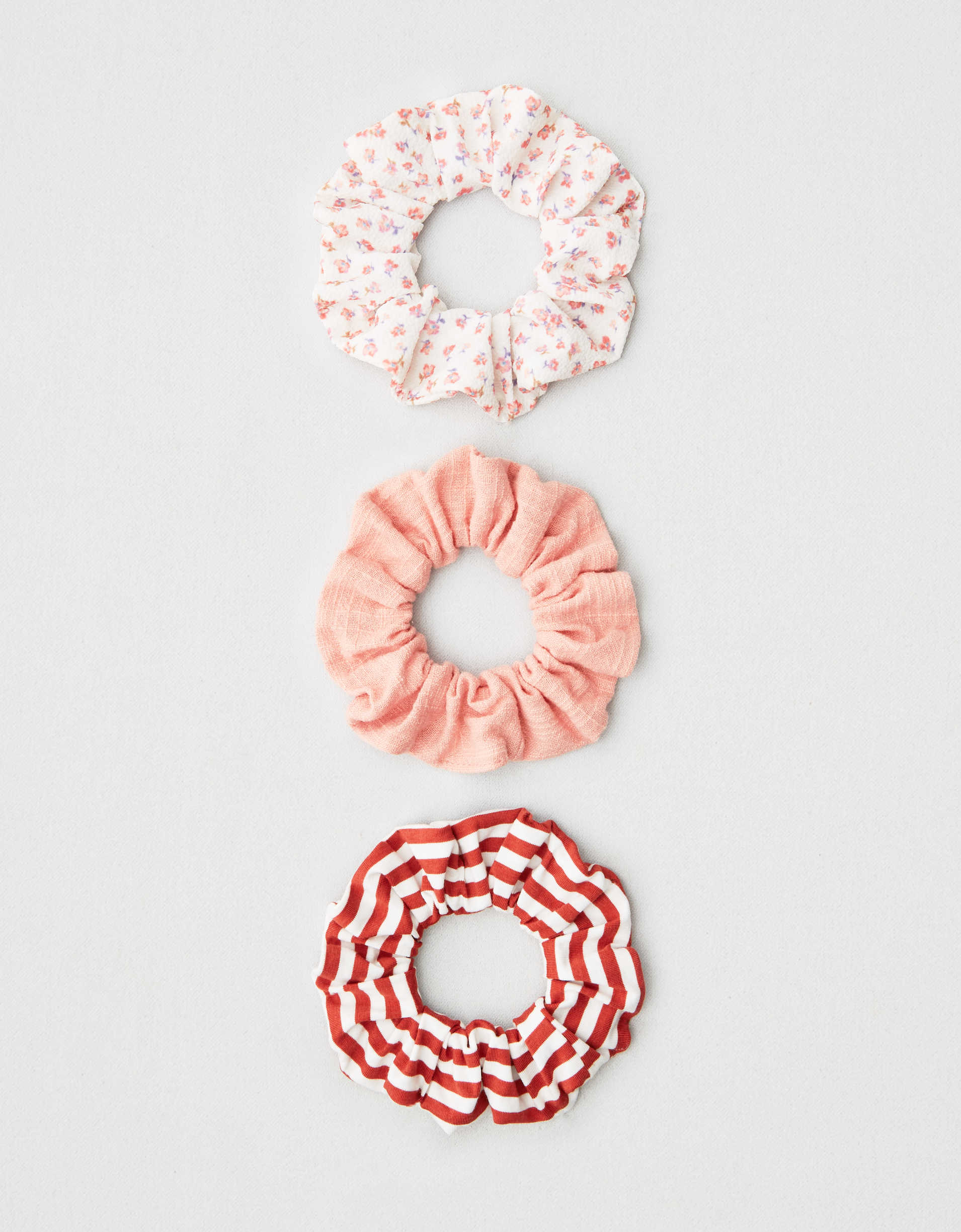 AEO Floral + Striped Scrunchies 3-Pack