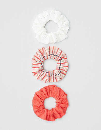 AEO Coral + Striped Scrunchies 3-pack