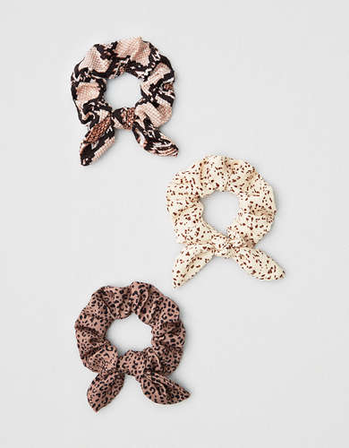 AEO Mini Animal Print Bow Scrunchies 3-Pack