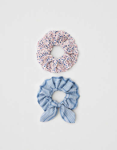AEO Chambray Bow + Ditsy Scrunchies 2-Pack