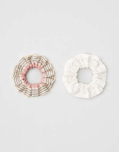 AEO Eyelet + Striped Scrunchies 2-Pack