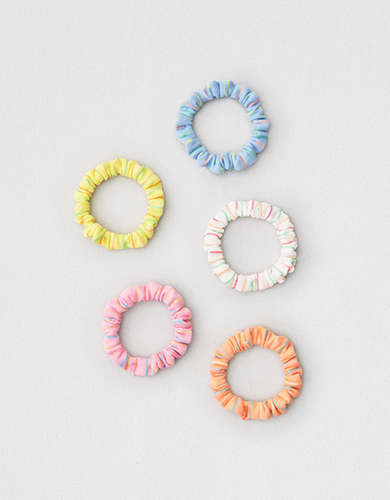 AEO Neon Striped Skinny Scrunchies 5-Pack