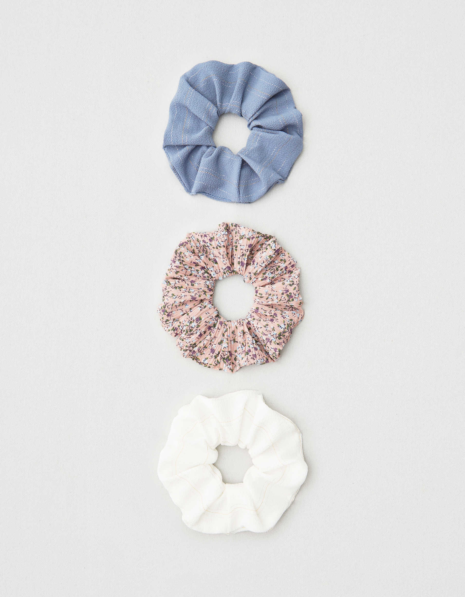 AEO Striped + Floral Scrunchies 3-Pack