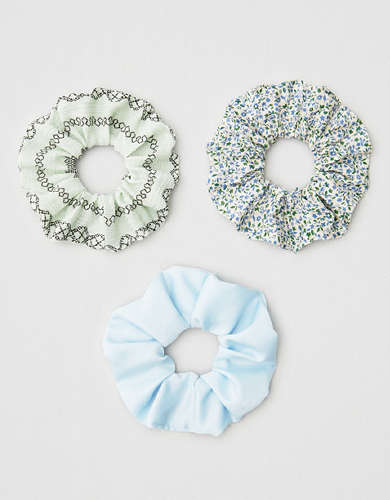 AEO Blue + Floral Scrunchies 3-Pack