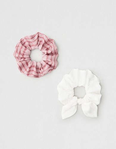 AEO White Bow + Striped Scrunchies 2-Pack