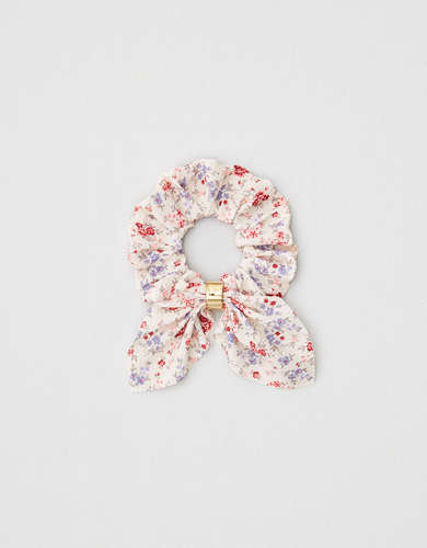 AEO Floral + Metal Bow Scrunchie