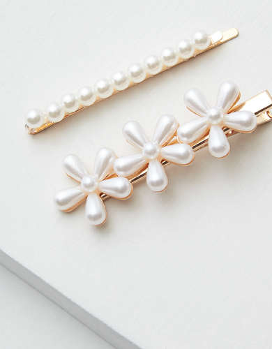 AEO Pearl Flower Hair Clips 2-Pack