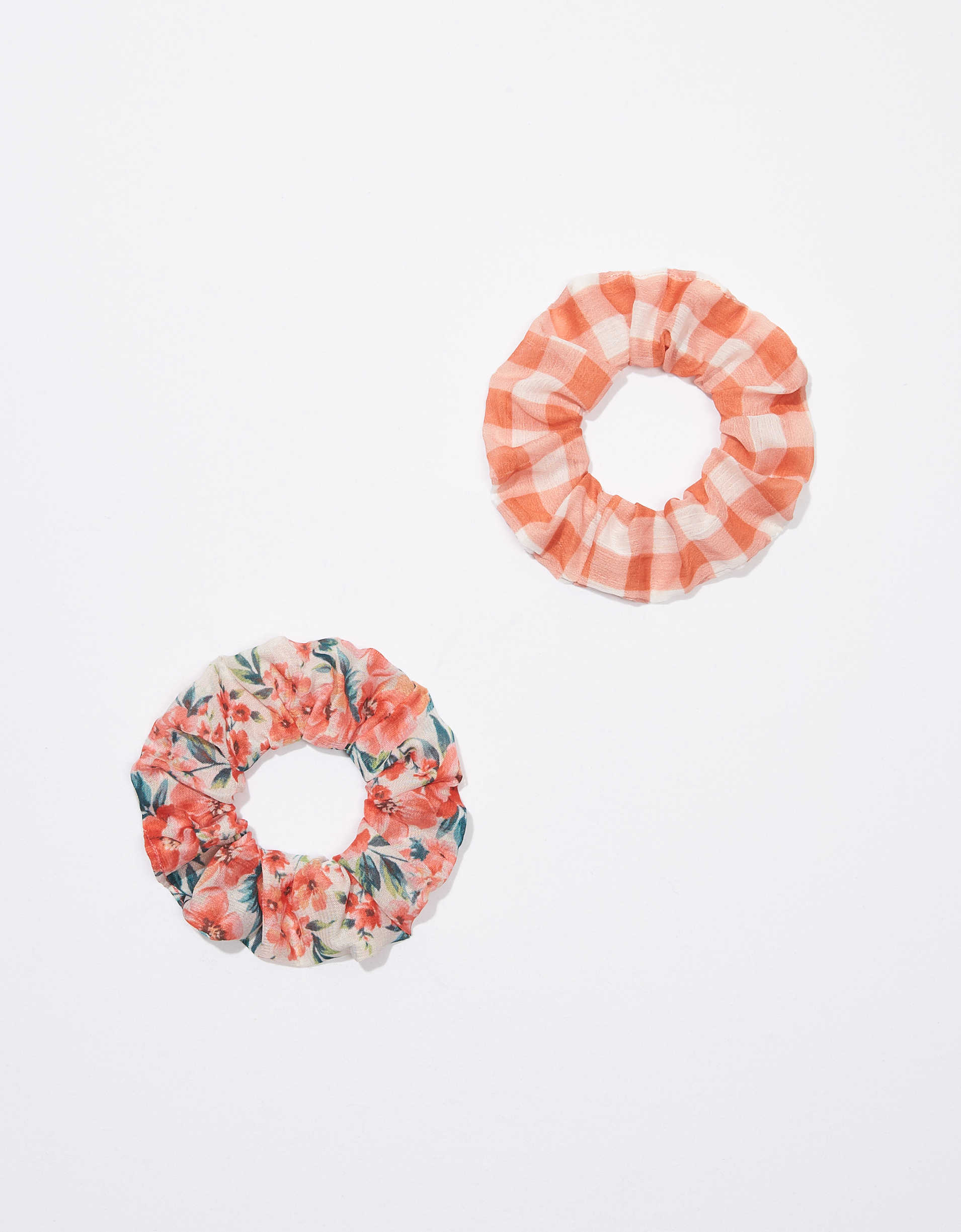AEO Plaid + Floral Scrunchies 2-pack