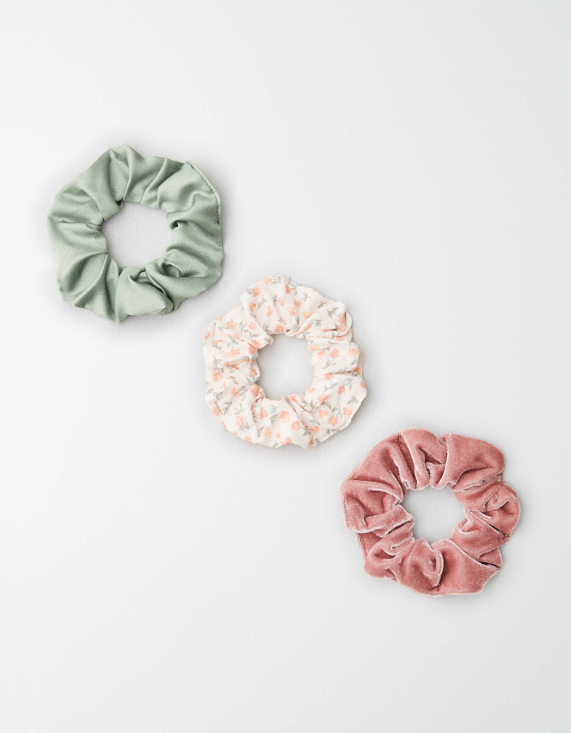 AEO Pastel Floral Scrunchies 3-Pack