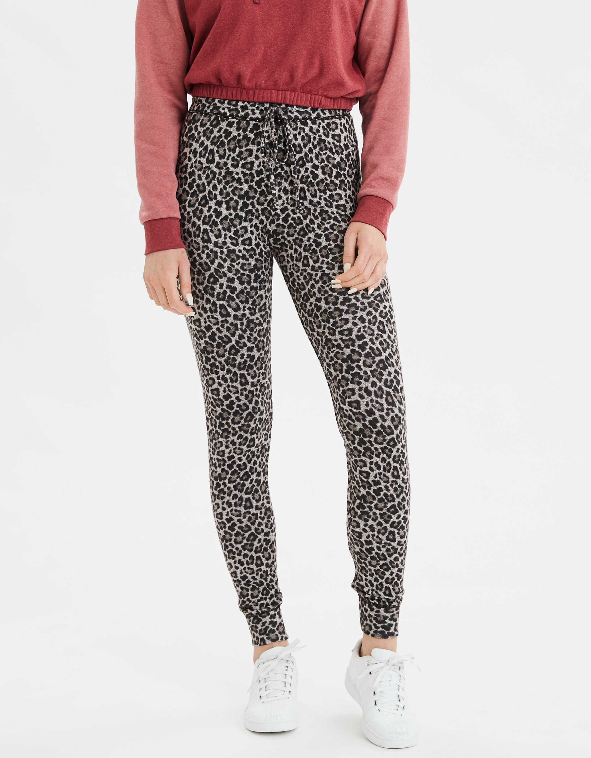 AE High-Rise Plush Leopard Legging
