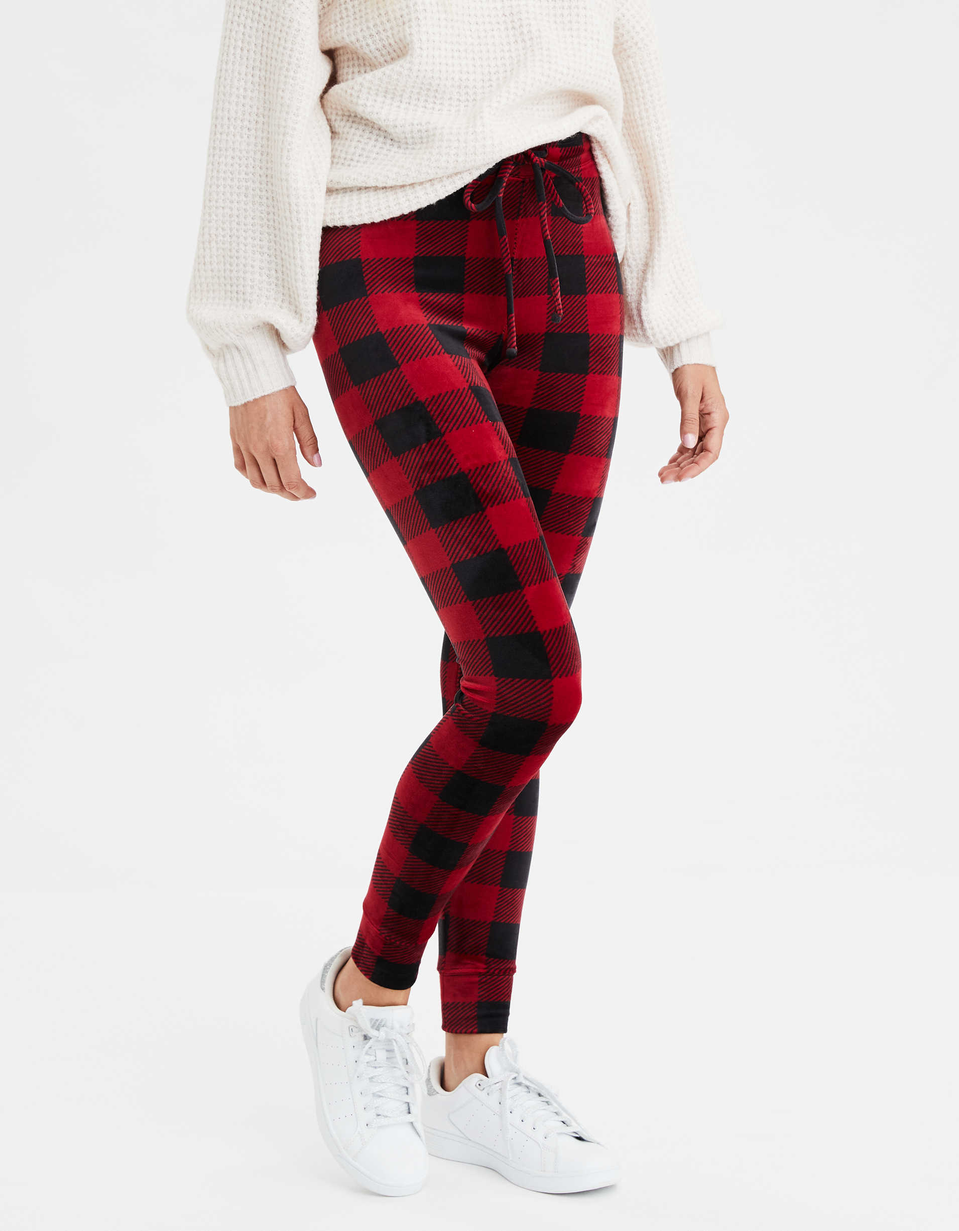 AEO Super High-Waisted Plaid Velvet Legging