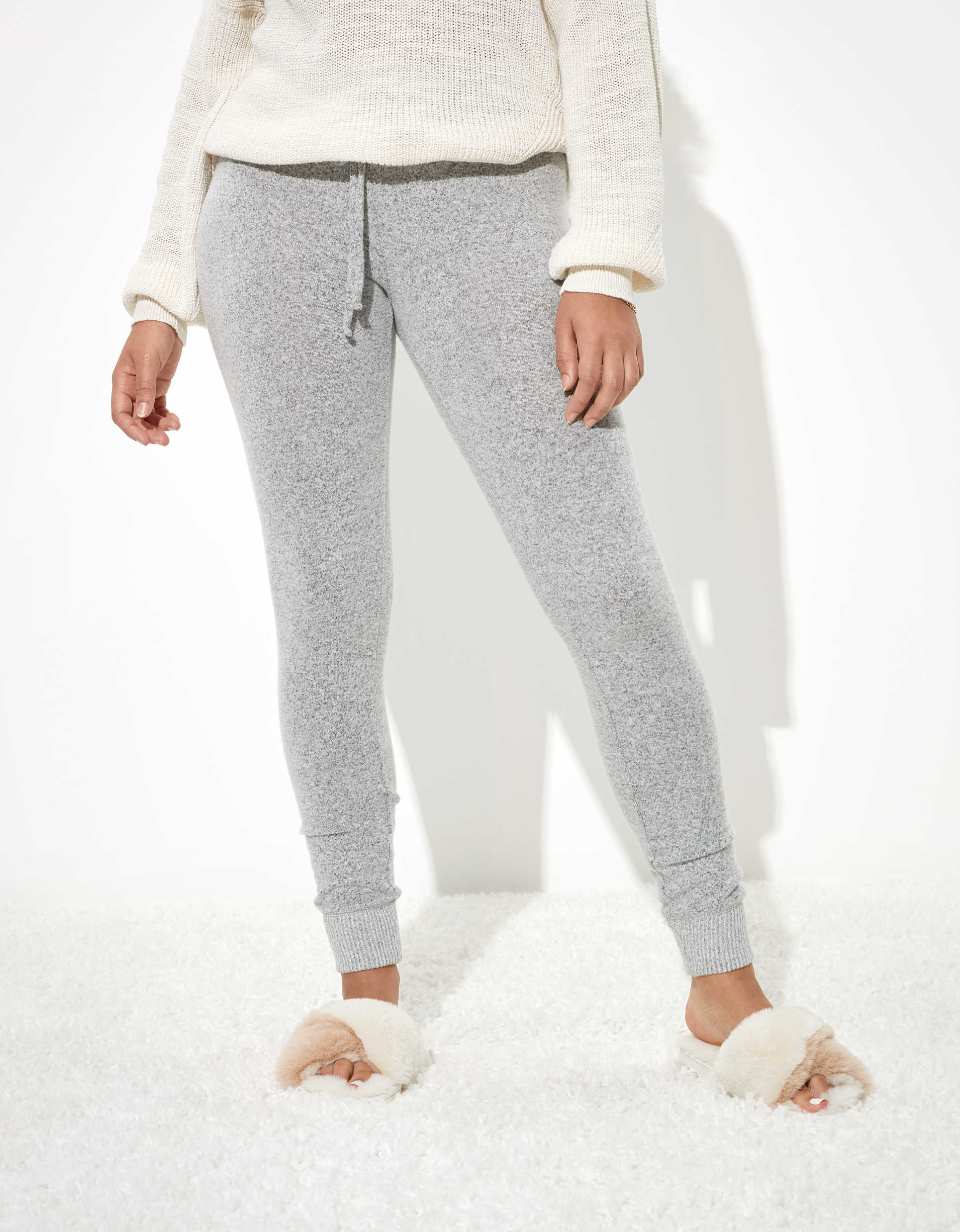 AEO Super High-Waisted Gray Soft Plush Legging