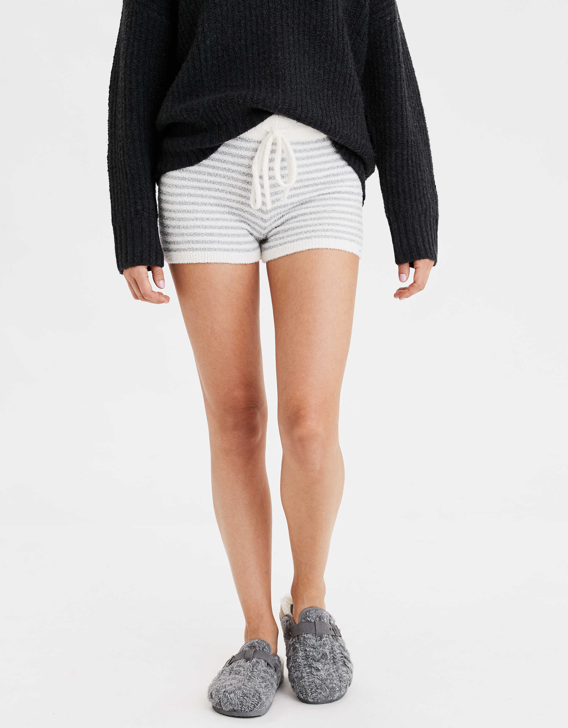 AEO High-Waisted Cozy Striped Short Short