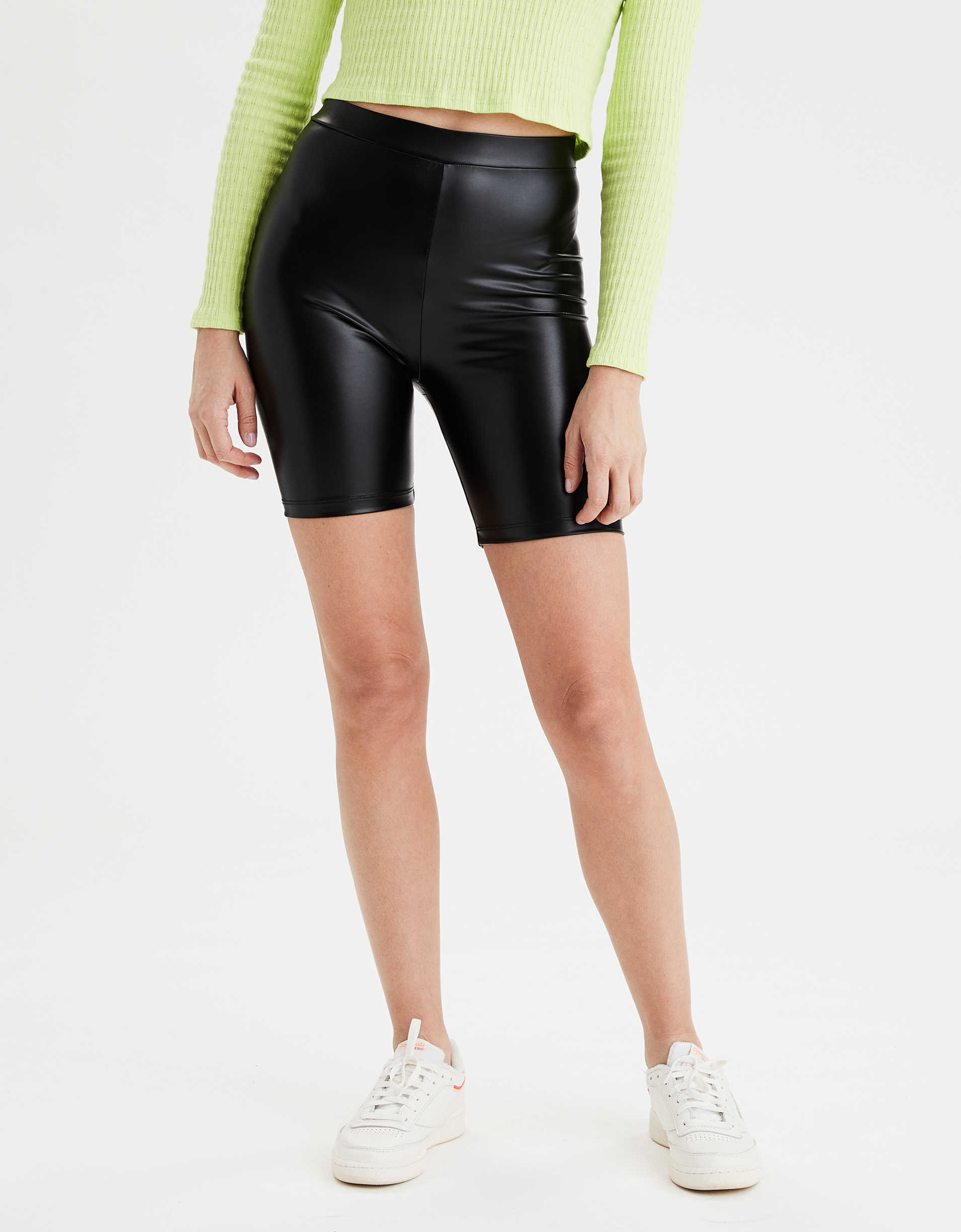 AE Highest-Rise Faux Leather Bike Short