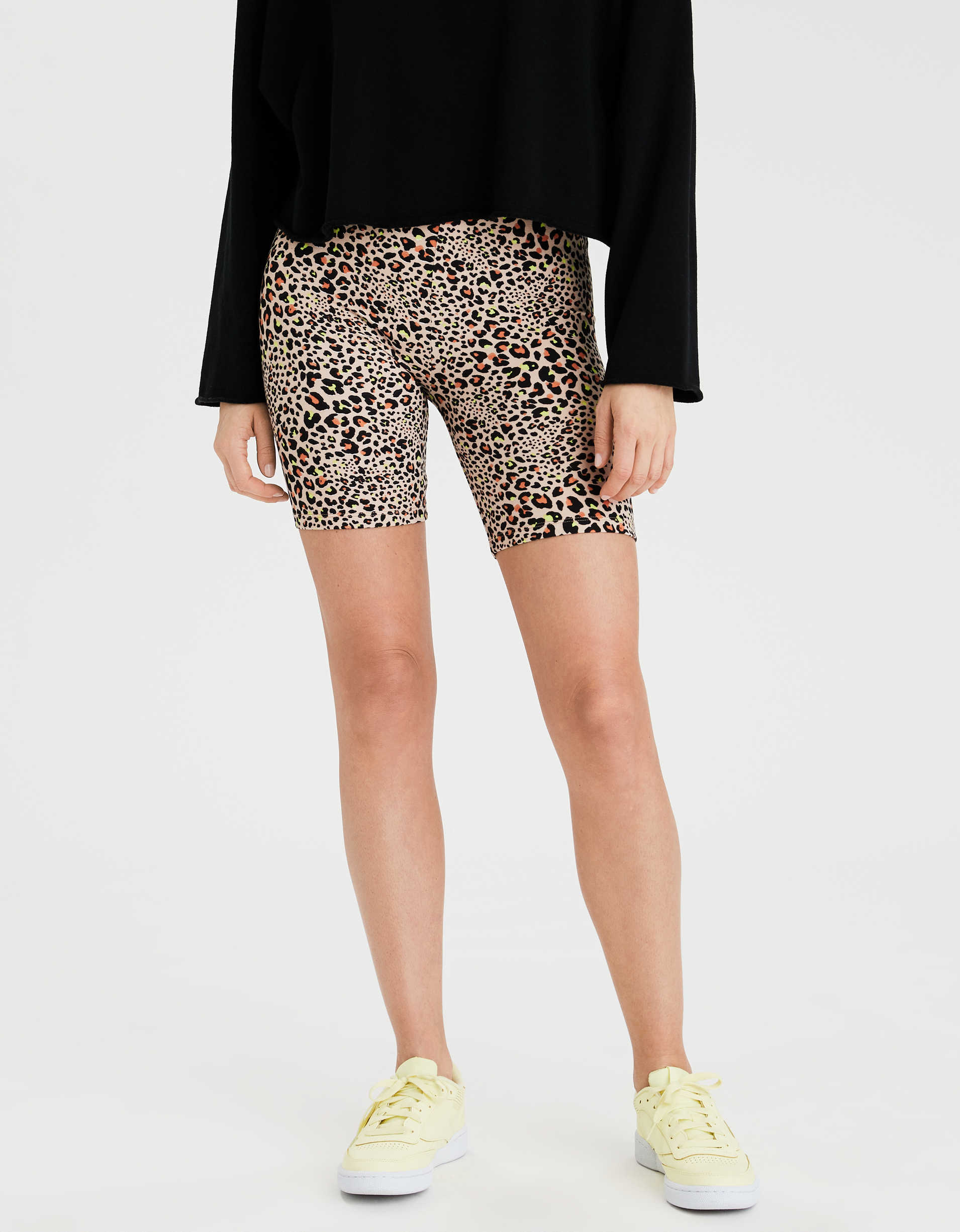 AE Highest-Waist Leopard Bike Short