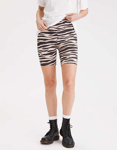 AE Highest-Rise Zebra Wide Waistband Bike Short
