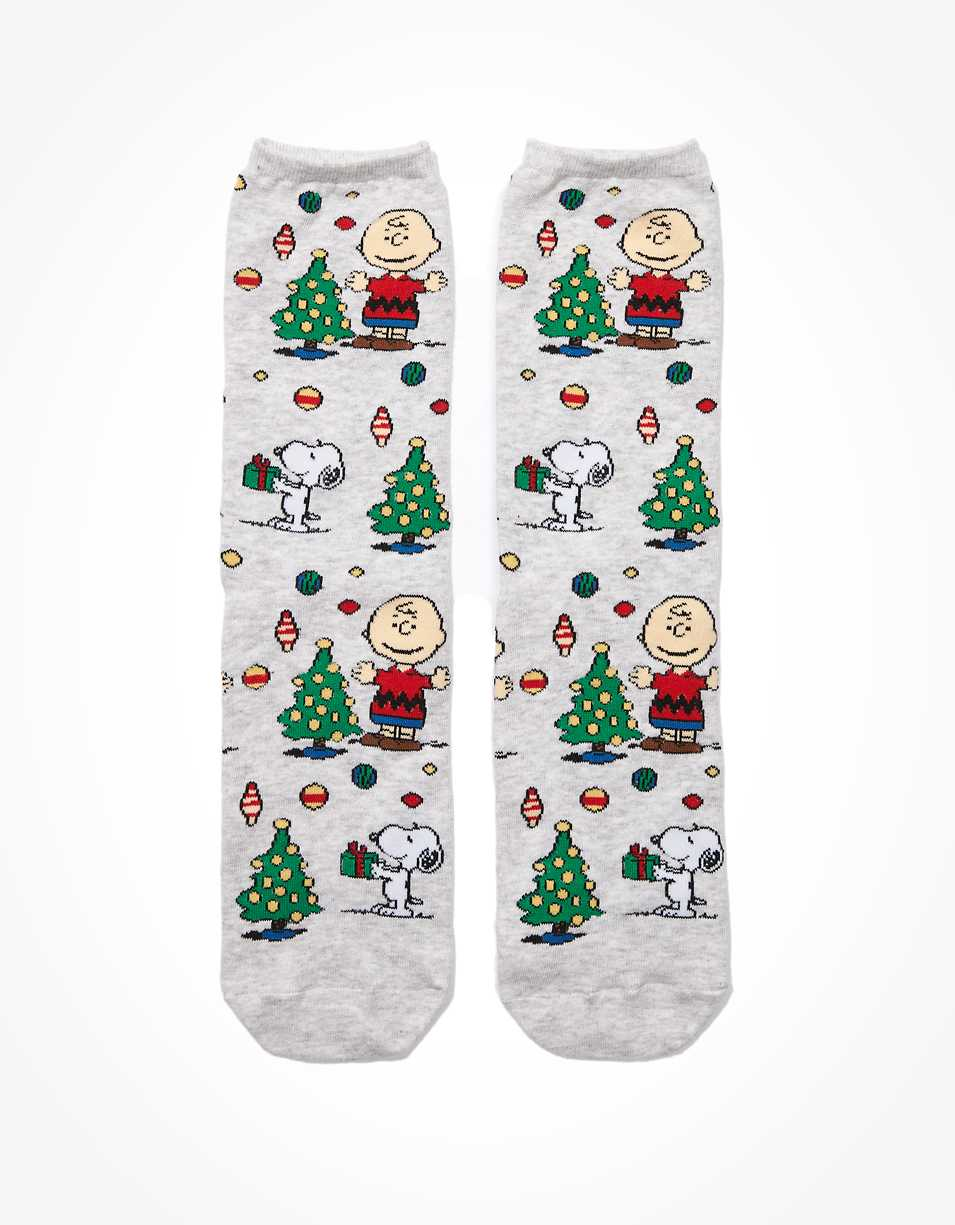 AE Peanuts Christmas Tree Crew Sock