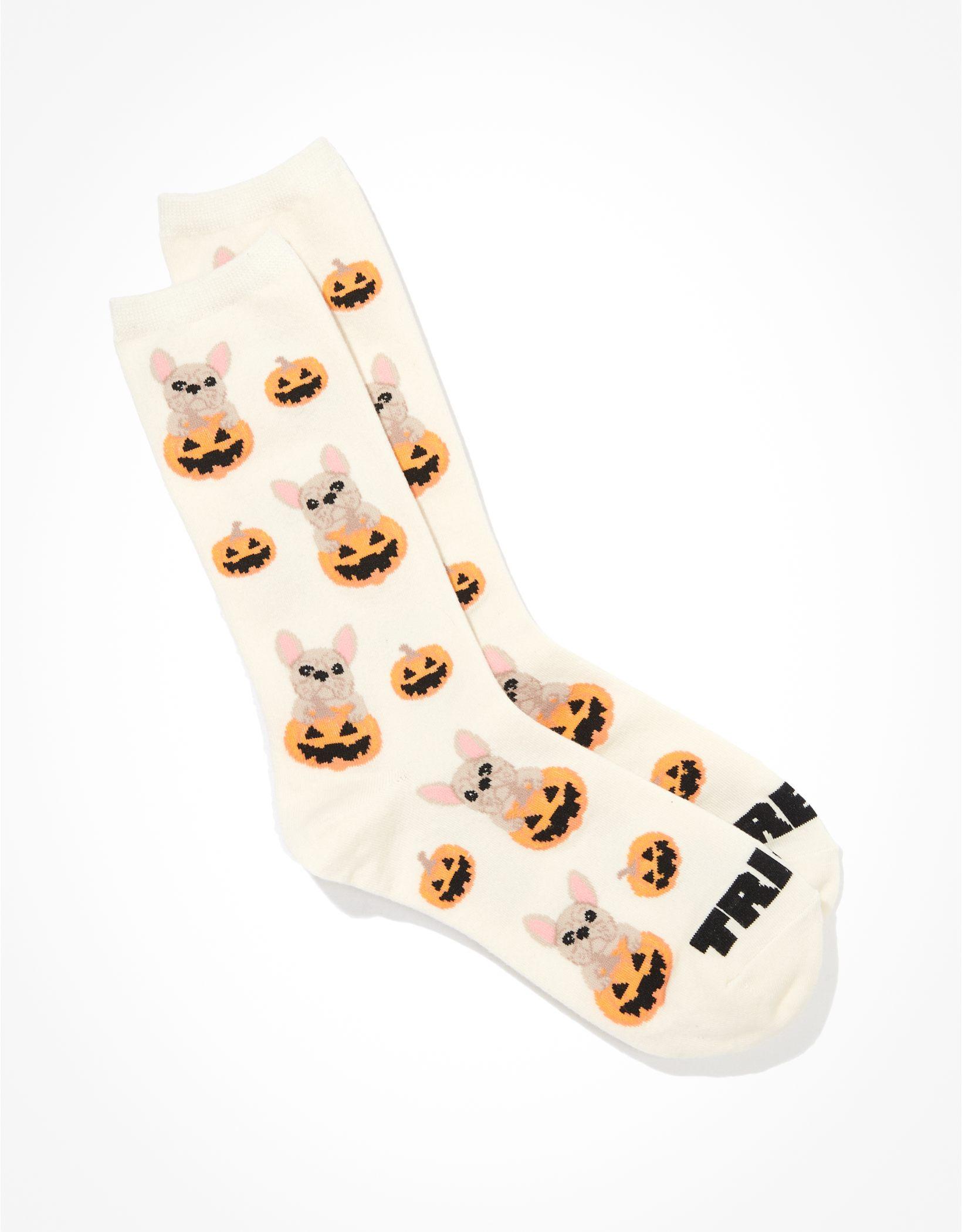 AE French Bull Dog Halloween Crew Sock