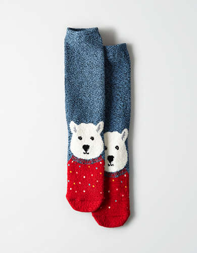 AEO Fuzzy Animal Face Crew Sock -
