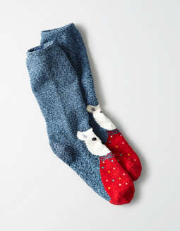 Aeo Fuzzy Animal Face Crew Sock by American Eagle Outfitters