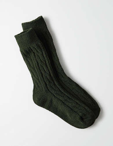 AEO Fluffy Cable Crew Sock -