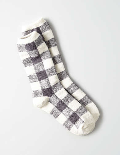 AEO Cozy Plaid Crew Sock -