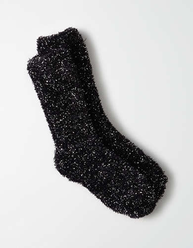 AEO Fluffy Metallic Crew Sock -