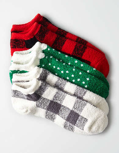 AEO Buffalo Plaid Ankle Sock 3-Pack -