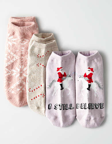 AEO Snowflake Ankle Sock 3-Pack -